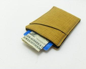 Wallet for Men / Thin wallet / Sleek wallet / Gold Crosshatch fabric wallet / minimalist wallet - pocket wallet