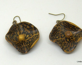 Brown and Gold Earrings - Polymer Dangles - Nature Theme Dangles - Handmade Earrings