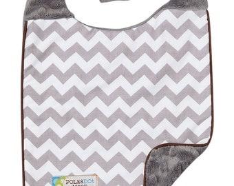 Baby Bib (Reversible) Gray Chevron on Gray Dimple Minky-A Modern Baby Shower Gift