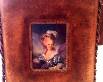 Gorgeous Antique Miniature Noble Lady in Frame