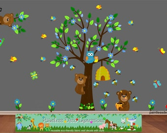 Woodland Animals Wall Decal - Honey Bear Nursery Wall Decal Birds, Bees, Butterflies, Tree, Flowers, Jungle Wall Decal - Reusable -wl3b -HWC