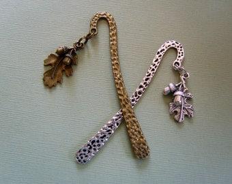 two oak leaf & acorns bookmarks