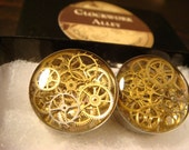 Steampunk Clockwork Ear Plugs Gauges Handmade with Recycled Watch Part Gears Size 7/8 (1944)