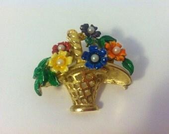 Vintage St. Labre Basket of Flowers Brooch, Pin, Enamel, Signed