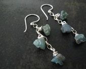 Rough Cut Earrings | Apatite Earrings | Raw Gemstone Earrings | Green Chip Earrings | Natural Gemstone Jewelry