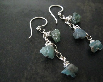 Rough Cut Earrings | Apatite Earrings | Raw Gemstone Earrings | Green Chip Earrings | Natural Gemstone Jewelry