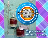 6 Months of Medium Treasure Candles (2 treasures in each - genuine diamonds, gemstones, handmade jewelry, or grand prizes) great gift idea