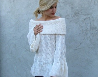 Women tops  Sweaters & Cardigans handmade Hand knit chunky  Sweater...S/M