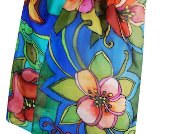 Painted Scarf Midnight Columbine Flowers Painted Silk Scarf Silk Scarf 14 x 65 inches Multicolor Scarf Art Batik Floral