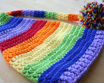 Rainbow Stocking Hat Elf Hat, Gay Pride hat, Gay marriage, LGBT, crochet photo prop, 5t-Adult sizes available, rainbow
