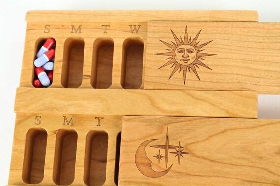 Day and Night Weekly Pill Box, Sun/Moon, Solid Cherry Hardwood Top and Bottom, Medium Depth, Medication Box, Paul Szewc