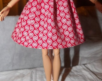 Fashion Doll Coordinates - Red & white swirl print skirt with elastic waist - es309