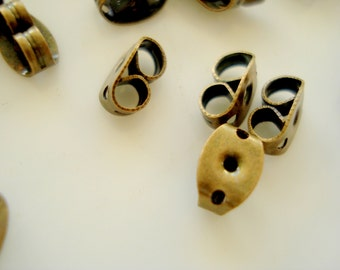 200 Antiqued Bronze Earring Studs Back Stoppers 6x4mm A-41