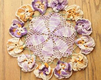 Vintage 40's/50's Round Iris Crochet Doily
