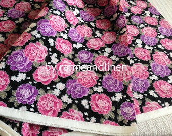 "Japanese cotton fabric, floral print slub texture cotton fabric, half yard by 44"" wide"