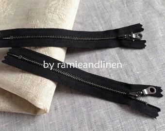 """YKK Zipper, black, 15cm, about 6"""", set for 2 pieces"""