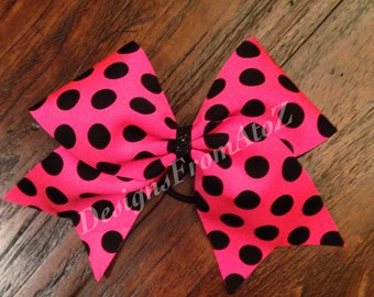 Pink and Black Polka Dot Cheer Bow