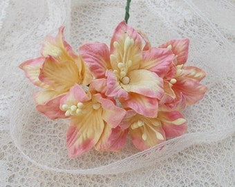 Shabby Chic Lily Flowers for Scrapbooking, Card Making, Altered Art, Tags, Mixed Media, Wedding, Cream and Pink