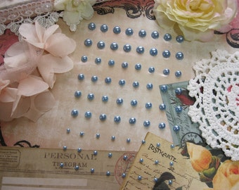 72 Self Adhesive Pearls in Light Blue For Scrapbooking Mini Albums Paper Crafts Tags Cards and DIY