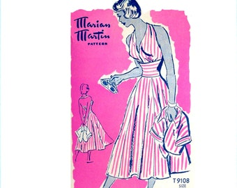 Vintage 1950s Halter Dress Pattern Uncut Bust 34 Size 16 Bolero Jacket Marian Martin 9108