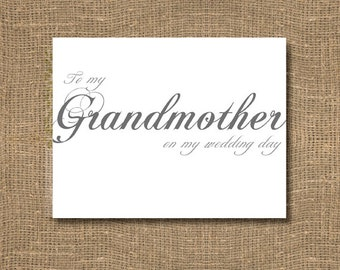 To My Grandmother On My Wedding Day Card
