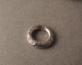 Thai Silver Slider Bead, Sterling Silver Slider, Thai Sterling Silver, Flower Stamped, Handmade Silver, Picture Frame