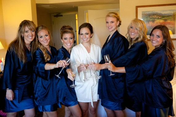 Bridesmaid Robes - NAVY + Floral trims - Handmade to order - Reserved Listing for Meigan M.