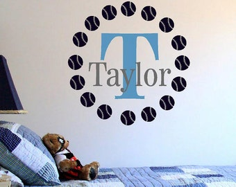 Personalized Baseball Monogram- Sports -Boys-Vinyl Lettering wall words  quotes graphics Home decor itswritteninvinyl