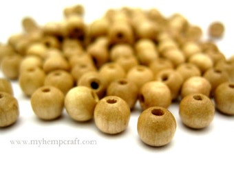 Natural Wood Beads, 100pc Small Round Wooden Beads, 5x6mm