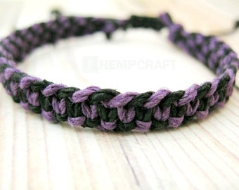 Macrame Hemp Bracelet, Black and Purple Hand Knotted, Adjustable Bracelet