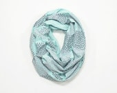 INFINITY SCARF - Screen Printed - Gray Flowers on Mint