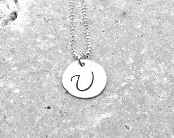 Initial Necklace, Sterling Silver Initial Jewelry, Letter U Necklace, Letter U Pendant, Personalized Jewelry, All Letters Available, u,