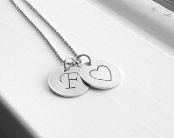 Letter F Initial Necklace, Sterling Silver Initial Necklace, Letter F Necklace, Initial Heart Necklace, Large Initial Necklace, Monogram