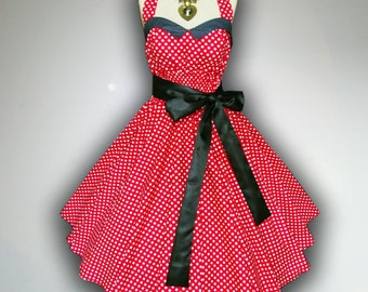 Bunny Vintage Red & White Polka Dot 50s Pin up Rockabilly Swing Dress Full Swing Skirt Plus Size 18 20 22