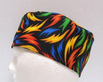Mens Scrub Hat or CRNA Surgical Cap with Colorful Flames