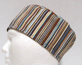 Manly Colored Surgical Scrub Hat Stripes in Browns and Blue