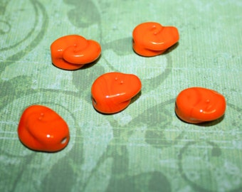 Vintage Unique Bright Orange Swirly Glass Beads - 16mm