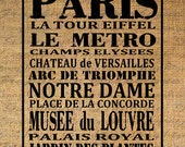 French Paris Subway Art Busroll Eiffel Tower Typography Words Sights Digital Image Download T-SHIRT Transfer Pillow Tote Burlap 3365