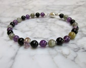 MENS Protection -  Amethyst, Labradorite, Rainbow Obsidian, Black Tourmaline and Ametrine Natural Stone and Crystal Chakra Bracelet