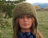 Alpaca Knit Felt Furry Hat with ear flaps Boxy Crusher Drab Khaki Green