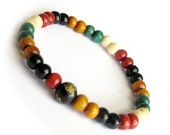 Tibet Wood 6mm x 5mm Carved FO Word Bead Green White Red Yellow Black Colors Buddhist Prayer Beads Bracelet  T3069