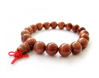 10mm Tibet 19 Energy Gold Sandstone Glidstone Charm Mantras Buddhist Prayer Beads Mala Bracelet  T0018