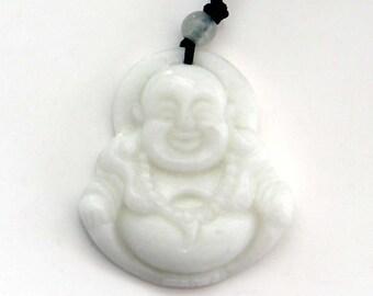 Talisman Natural Stone Pendant Happy Buddha God Amulet Bead 36mm x 32mm  TH235