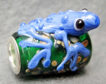 1Pc Murano Glass Bead Fit European Charm Jewelry Frog 19mm x 17mm x 11mm  jaz443