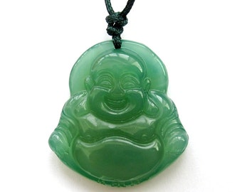 Talisman Green Agate Carved Fortune Smile Buddhist Buddha God Amulet Pendant 30mm*28mm  T3066