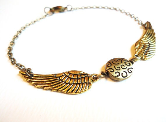 Steampunk Gold or Bronze Orb & Gold Wings Bracelet