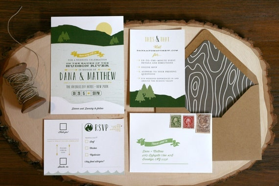 Lake Themed Wedding Invitations: On The River Wedding Invitation River Theme Rustic Wedding