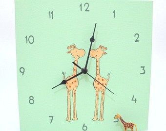 Nursery wall clock- Green and Orange giraffes clock for kids, hand painted on Canvas, children decor