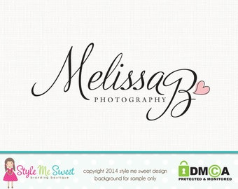 Custom Logo Design Premade Photography Logo and Watermark for Photographers Heart Logo Text Logo Design