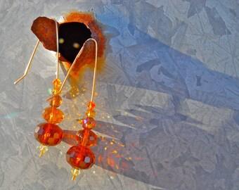 Elf Ear Handmade Hook Shades of Amber Swarovski and Czech Crystal Faceted Bead Handmade Bronze Hook Fantasy Earrings